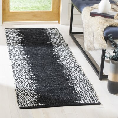 Logan Hand-Woven Light Grey/Black Area Rug Rug Size: Runner 23 x 6