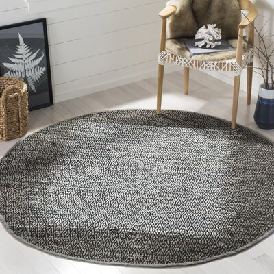Logan Leather Hand-Woven Light Gray Area Rug Rug Size: Round 6