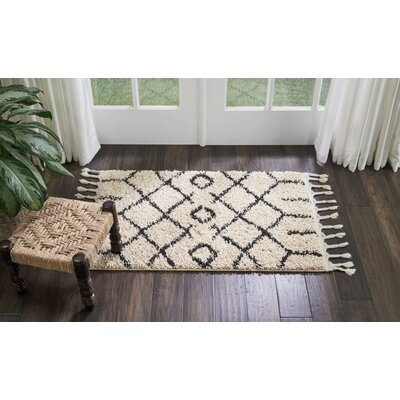 Beaulah Geometric Shag Cream Area Rug Rug Size: Rectangle 22 x 4