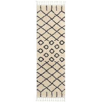 Beaulah Geometric Shag Cream Area Rug Rug Size: Runner 22 x 81