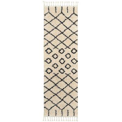 Beaulah Geometric Shag Cream Area Rug Rug Size: Runner 22 x 81