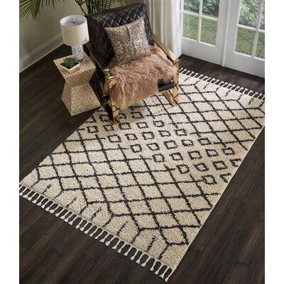 Beaulah Geometric Shag Cream Area Rug Rug Size: Rectangle 53 x 711