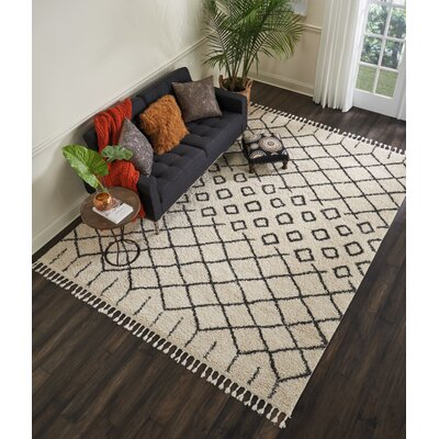 Beaulah Geometric Shag Cream Area Rug Rug Size: 710 x 106