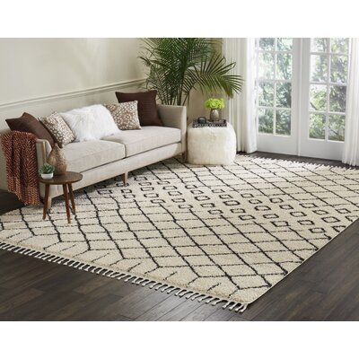 Beaulah Geometric Shag Cream Area Rug Rug Size: 92 x 126