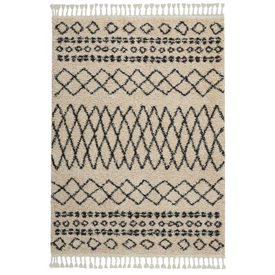 Beaulah Shag Cream Area Rug Rug Size: Rectangle 53 x 711