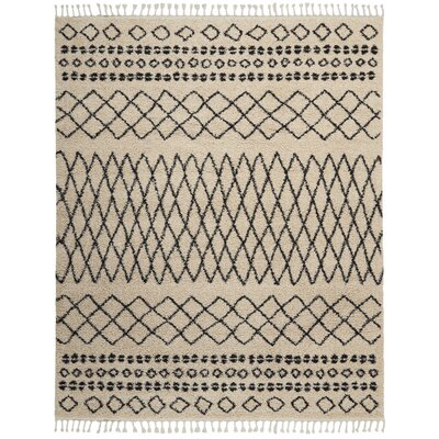 Beaulah Shag Cream Area Rug Rug Size: Rectangle 92 x 126