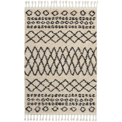 Beaulah Shag Cream Area Rug Rug Size: Rectangle 311 x 67