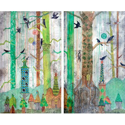 '11 Starlings Diptych' Acrylic Painting Print Multi-Piece Image on Wrapped Canvas Size: 108