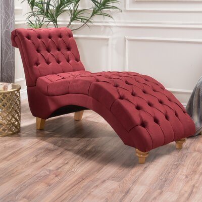 Almonburry Fabric Chaise Lounge Upholstery: Red