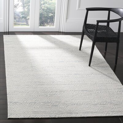 Chanelle Hand-Woven Wool Light Blue Area Rug Rug Size: 4 x 6