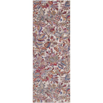 Turner Modern Floral Cream/Red Area Rug Rug Size: Runner 3 x 71