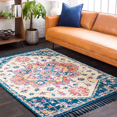 Kaliska Vintage Floral Sky Blue Area Rug Rug Size: Rectangle 93 x 121