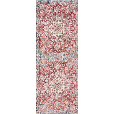 Turner Vintage Poppy/Blue Area Rug Rug Size: Runner 3 x 71