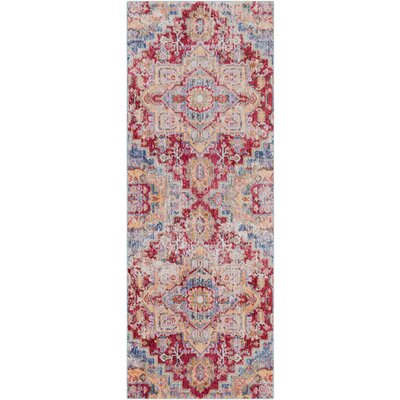 Turner Vintage Dark Red/Blue Area Rug Rug Size: Runner 3 x 71
