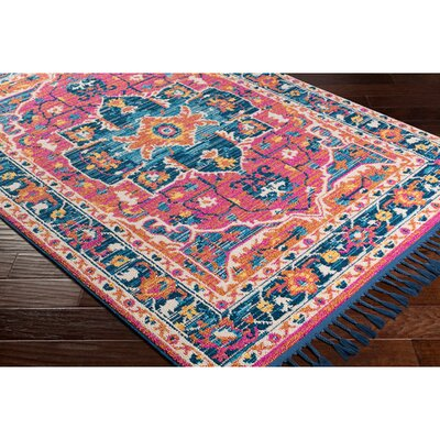 Kaliska Vintage Floral Bright Pink Area Rug Rug Size: Rectangle 93 x 121