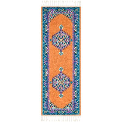 Kaliska Burnt Orange/Navy Area Rug Rug Size: Runner 27 x 10
