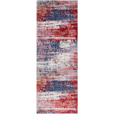 Turner Modern Abstract Red Area Rug Rug Size: Runner 3 x 71