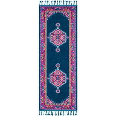 Kaliska Navy/Bright Pink Area Rug Rug Size: Runner 27 x 73