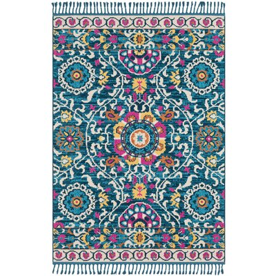Kaliska Boho Suzani Tassel Teal/Pink Area Rug Rug Size: Rectangle 93 x 121