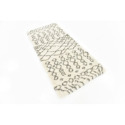 Bourne Machine woven  Ivory Area Rug Rug Size: Runner 27 x 6