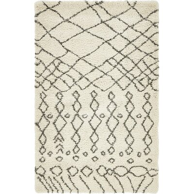 Bourne Machine woven  Ivory Area Rug Rug Size: 4 x 6