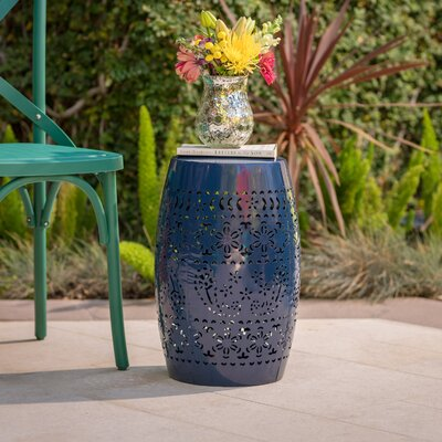 Ifrane Iron Side Table Color: Dark Blue