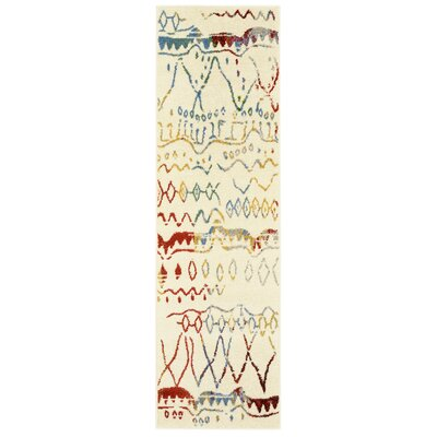 Accomac Cream/Blue Area Rug Rug Size: Runner 21 x 75