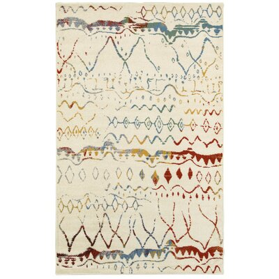 Accomac Cream/Blue Area Rug Rug Size: 52 x 72