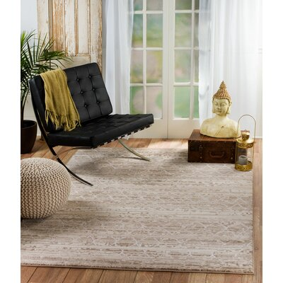 Gregory Glamour Taupe Area Rug Rug Size: 53 x 72