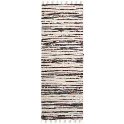 Sanchaya Hand-Woven Ivory/Charcoal Area Rug Rug Size: Runner 23 x 8