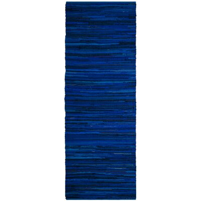 Sanabria Hand-Woven Blue Area Rug Rug Size: Runner 23 x 8