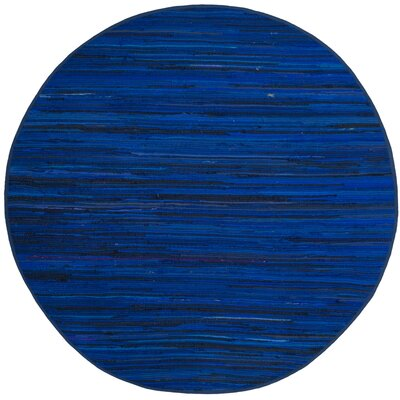 Sanabria Hand-Woven Blue Area Rug Rug Size: Round 6