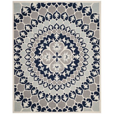Bellagio Hand-Tufted Wool Blue/Ivory Area Rug Rug Size: Rectangle 8 x 10