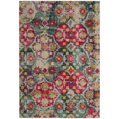 Cabra Gray/Fuchsia Area Rug Rug Size: Rectangle 3 x 5