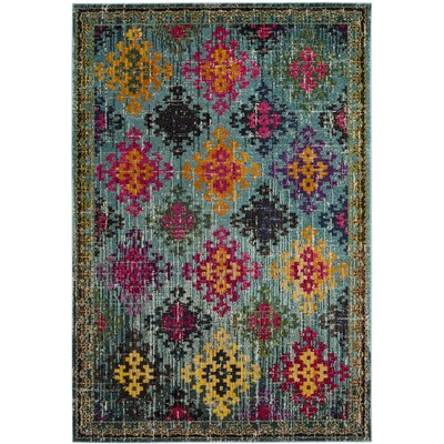 Chana Green/Pink Area Rug Rug Size: Rectangle 51 x 77