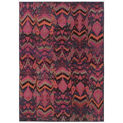 Terrell Tribal Blue/Pink Area Rug Rug Size: Rectangle 53 x 76