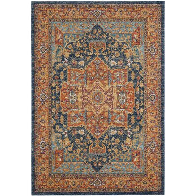 Battista Blue/Orange Area Rug Rug Size: Rectangle 51 x 76