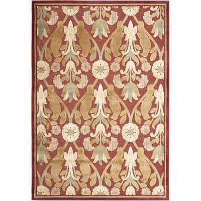 Saint-Michel Red Area Rug Rug Size: Rectangle 53 x 76