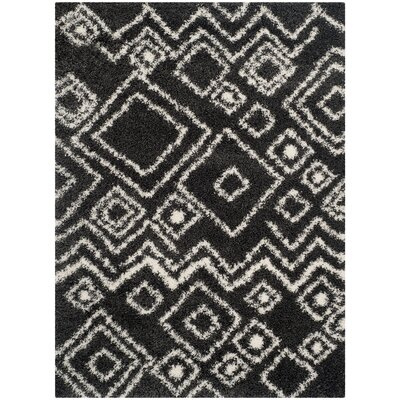 Messiah Charcoal/Ivory Area Rug Rug Size: Rectangle 51 x 76