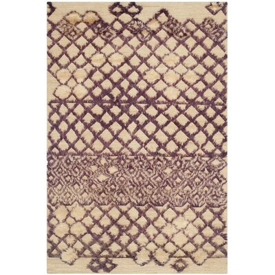 Princes Hand-Knotted Beige/Dark Gray Area Rug Rug Size: Rectangle 6 x 9