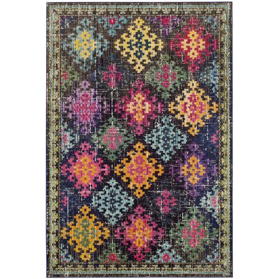 Crosier Green/Pink Area Rug Rug Size: Rectangle 51 x 77