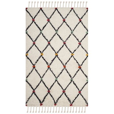 Cosima Hand-Tufted Ivory/Black Area Rug Rug Size: Rectangle 5 x 8