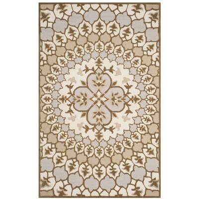 Bellagio Hand-Tufted Wool Ivory/Dark Beige Area Rug Rug Size: Rectangle 5 x 8