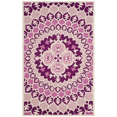 Blokzijl Hand-Tufted Pink/Ivory Area Rug Rug Size: Rectangle 5' x 8'