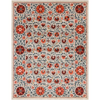 Camp Ellis Floral Beige/Bright Red Area Rug Rug Size: Rectangle 53 x 73