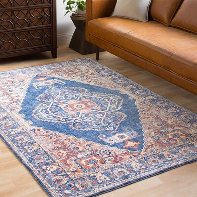 Richmond West Vintage Floral Blue/Orange Area Rug Rug Size: Rectangle 96 x 136