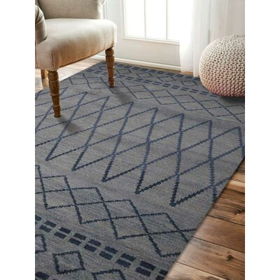 Bourke Geometric Hand-Woven Wool Light Blue Area Rug Rug Size: Rectangle�10 x 14