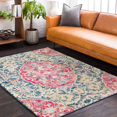 De Funiak Springs Machine Blue/Cream/Pink Area Rug Rug Size: Rectangle 710 x 103
