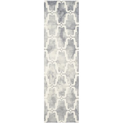 Hand-Tufted Dip Dye Gray/Ivory Area Rug Rug Size: Runner 23 x 8