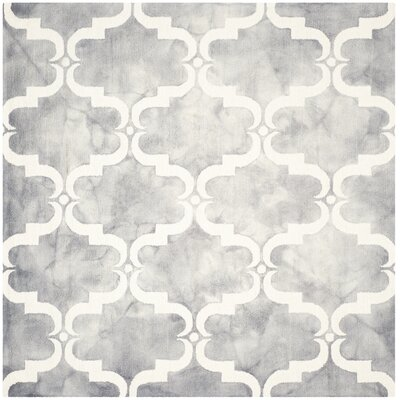 Hand-Tufted Dip Dye Gray/Ivory Area Rug Rug Size: Square 7